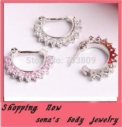 Wholesale Unique Pierced Earrings - Unique Zircon Gem Septum Clicker Nose Ring Stud Nose Piercing Stud Luxury Jewelry tragus hoop earring mix 2 color 10pcs lot