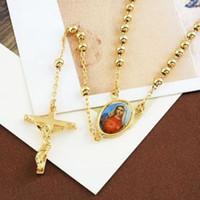 9k gold großhandel-Großhandels-Lucky 9K Gold gefüllt Rosenkranz beten Bead Blessed Mary Kreuz Halskette 23