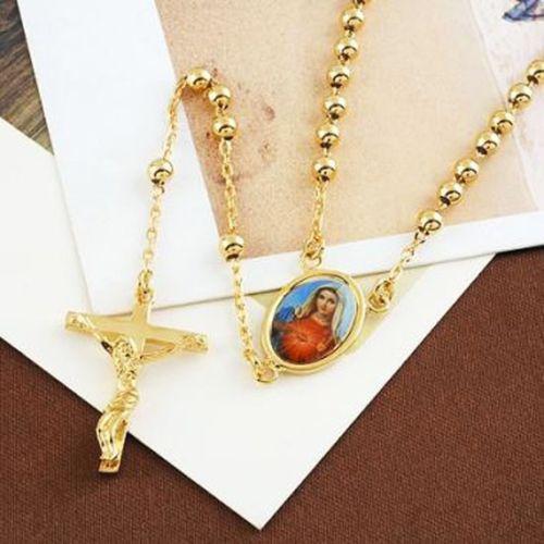 """Atacado-sorte 9k ouro preenchido rosário orar pérola santos mary cruz colar 23 """", 14c0376"""