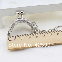 Wholesale Wholesale Handles For Purses - Wholesale-20pcs Cute 4CM Silver Metal Purse Hasp Frame handle with key chain for bag sewing craft,Tailor Sewer, Freeshipping