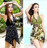 Wholesale Swimsuit Plus Sizes Free Shipping - Wholesale-New 2015 free shipping 2pc Set Women Halter sexy Bikini Swimsuit Beach Swim wear women Dress Beach Swimwear Plus Size