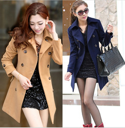 Wholesale Winter OL elegant women s woolen thick medium long plus size thermal wool woolen outerwear amp coat trench Navy blue