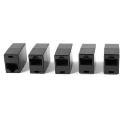 Wholesale Rj45 Female Coupler - 5 Pcs Black 8P8C RJ45 to RJ45 Female Female Ethernet Inline Connector Coupler