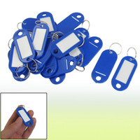 Wholesale 20 Key ID Label Tags Split Ring Keyring Keychain Blue