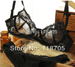 Wholesale Transparent Lace Young Sexy Girls - Wholesale-Ultra-thin transparent lace sexy bra set young girl small push up thin temptation underwear bra set