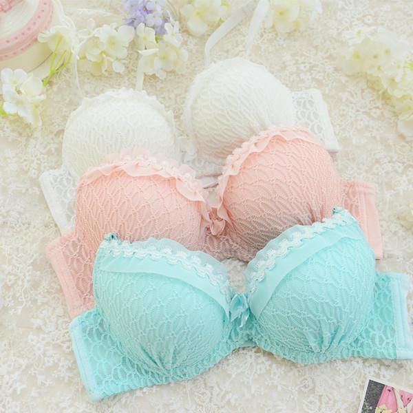 Großhandels-Frauen 100% Baumwolle BH Set Pink Lolita Cute Push Up Pad Schaum BH Lace Unterwäsche Kit Weiß BH und Panty Set BH Slip Set
