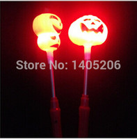 Wholesale Led Christmas Candle Sticks - Halloween Flash light particles Pumpkin lamp glow stick