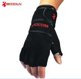 Wholesale Gym Lifting - Wholesale-Hot sale Long Wristband Cuff Grip Glove Fitness Sports Mitten Training Leather Long Wrist Belt Weight Lifting Gym Gloves