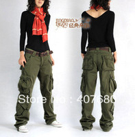 Wholesale winter women s overalls cargo pants casual multi pocket loose hip hop pants straight trousers thick army green plus size