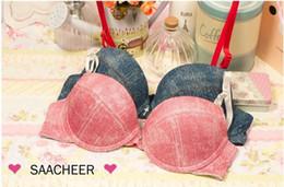 Wholesale Sexy Bra Japan - Wholesale-2015 New Japan and South Korea style sexy fashion Denim bras set girl push up brassiere underwear & bra brief sets free