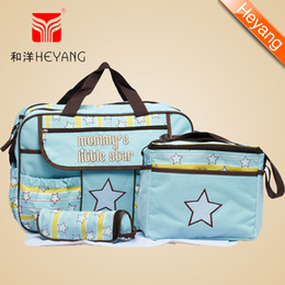Wholesale Cheap Diaper Bag For Baby - Wholesale-Free Shipping New Arrival 600D Cute Blue,Pink 4pcs 2 colors cheap Baby bag set Nappy Diaper Bags fashion for mummy HY-019