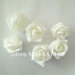 Wholesale White Foam Balls Wholesale - Wholesale-Free Shipping--50pcs 5cm White DIY Accessories Artificial EVA Foam Rose Flower Heads For Wedding Decoration Flower Ball Making