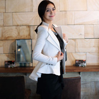 Wholesale Ladies Long Blazers Styles - Wholesale-Double Collar Vintage Elegance Woman Tuxedo Style Slimly White And Black Lady Jacket Fashion Female Tuxedo Coat Free Shipping