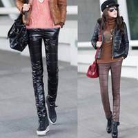 Wholesale Down Pants Women - Wholesale-Plus thick warm velvet trousers Korean Slim PU imitation leather pants down pants pants female feet pencil pants winter clothes