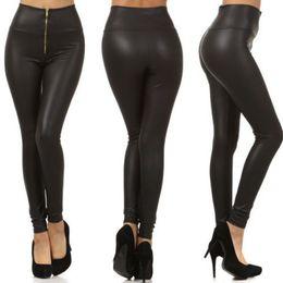 fc5281e4e534c China Wholesale-Free shipping Fashion Sexy Shiny Metallic High Waist Black  Stretchy Leather Leggings Pants