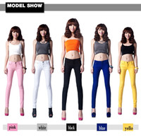 Wholesale Candy Colored Jeans - Wholesale-WOMENS SEXY SOLID STRETCH CANDY COLORED SLIM FIT SKINNY COTTON PANT TROUSERS JEANS