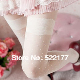 Wholesale Lace Polka Knee Socks - Wholesale-Free Shipping Womens Tights 2016 Hot-selling Velvet Lace Jacquard Stocking Sexy Transparent White Vintage Pantyhose Stockings