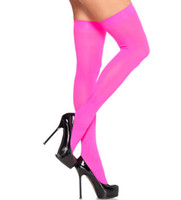 Wholesale Thigh Stocking Price - Wholesale-Free shipping Fashion neon light up sheer Thigh High stockings 6 colours cheap price paper box packing stocking supplier