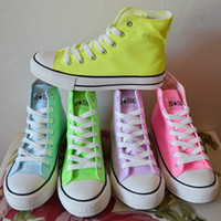 Wholesale Hand Painted High Top Sneakers - Wholesale-Canvas Shoes Women Sneakers Candy Color Neon Color High Hand-Painted Shoes Casual Tenis High Top Sneakers Plus Size 35-43