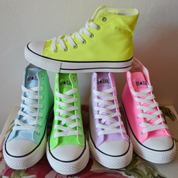 Wholesale Candy Canvas Shoes Women - Wholesale-Canvas Shoes Women Sneakers Candy Color Neon Color High Hand-Painted Shoes Casual Tenis High Top Sneakers Plus Size 35-43