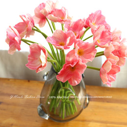 Wholesale Real Touch Flowers Poppy - Wholesale-18pcs lot Fresh 1 Head Mini Real Touch Corn Poppy Decorative PVC Flowers Wedding Bridal Bouquet Home Decor Free Shipping