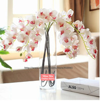 Wholesale Latex Flowers Orchids - Wholesale-6pcs Lot -Phalaenopsis PU Latex Orchid Flower Real Touch (11 flowers Stem) Artificial Flower Wedding Fake Flower Free Shipping
