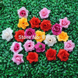 Wholesale Silk Wedding Flower Balls - Wholesale-50pcs Simulation Big Rose Flower Heads Artificial Flowers Ball Head Brooch Festival Home Wedding Decoration Flower Silk Flower