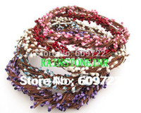 Wholesale Dried Stems - Wholesale-New Wedding Pip Berry Stem garishness DIY Artificial Bead Flower Beach Wreath   Bracelet Garland FL111 Dried Branches