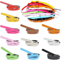 Wholesale Double Bow Belt - Wholesale-5pcs New Fashion Women's Cute Nice Candy color sweet double layer bow Knot strap belt decoration PU leather Bowknot Thin Belt