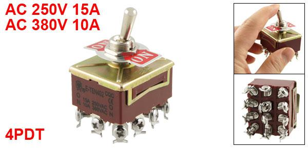AC 15A / 250V 10A / 380V 12 Terminales de tornillo On / On 4PDT Toggle Switch