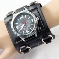 Wholesale Watch Punk Gothic - Big Hot Gothic Punk Style Men woman Watch 7.5cm Wide Leather Cuff Wristwatch Hug Quartz Watches