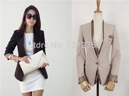 Wholesale Korean Women Blazers - Wholesale-New Spring Autumn Korean Women Slim Blazer Leopard Demountable Necktie One Button Pocket Jacket Lady Work Black Beige Suit YT206
