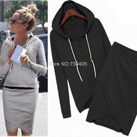 Wholesale Skirt Blazer Set - Wholesale-2015 new Hot ! Black Gray Cotton Baseball Sports Suit Casual Women Sports Set 2pcs set Tracksuits (Hoodies+Irregular Skirts)