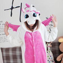 Wholesale Sexy Women S Animal Costume - Wholesale-Animals Flannel Pink Unicorn Onesie Cosplay Pajamas Women Men Winter Warm Cute Pyjamas COSPLAY Costumes Sleepwear Party Clothes