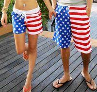 Wholesale Beach Surf Pants Women - Wholesale-New! American Flag Beach Shorts Men Swimwear Women Beach short Pants Black White Stripe Stars Lovers Sport short Swimming Surf