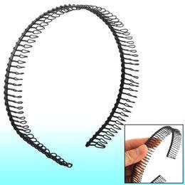 Wholesale Metal Tooth Comb - Woman Metal Teeth Comb Hairband Hair Hoop Headband Black
