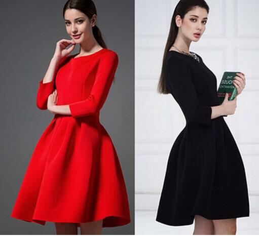 FASHION SALE New 2014 Autumn Winter Women's Red/Black Dresses Evening Elegant 3/4 Sleeve Pleated Ball Gown Dress To Party