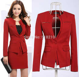 Wholesale Skirt Suits For Women - Wholesale-Newest 2015 Spring Professional Business Women Work Wear Skirts Suits Formal Women Sets For Office Ladies Red Plus Size 4XL