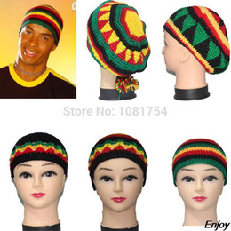Beanie a maglia rasta online-All'ingrosso-nuovi cappelli invernali fatti a mano berretto di lana cappello rasta beanie skullies per le donne e gli uomini Giamaicani Fancy Dress Costume Halloween
