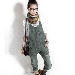 Wholesale Suspender Jeans Women - Wholesale-Women Denim Jeans Suspender Overalls Trousers Cowboy Jumpsuits Bib Pants WHM