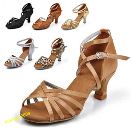 Wholesale Wholesale Latin Ballroom Shoes - Wholesale-Free Shipping!Womens Comfortable Ballroom Latin Tango Dance Shoes heeled Salsa 6 Color 8 Sizes