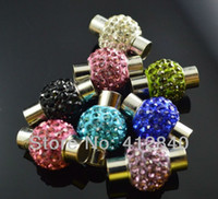 Wholesale Magnetic Bracelet Clasps 5mm - 2015 Wall Hanger Mixed Color Crystal Shamballa Disco Ball Magnetic Clasp with Inner Hole 5mm Silver Stone Bracelet Necklace Jewelry Clasps