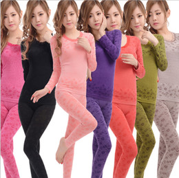 Wholesale Thermo Thermal Clothes - Wholesale- Long Johns 2015 Women's High Quality Thermo Thermal Underwear Fashion Brand Thin Tight O-neck Clothing Set