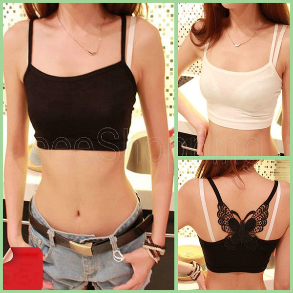 Wholesale-Q294 Hot Sexy Womens Girls Ladies Butterfly Hollow-out Underwear Intimates Spaghetti Straps Tank Tops Camisoles Black White