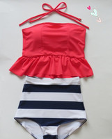 Wholesale Stripe Bikini Set - Wholesale-pinkish orangish navy stripe HIGH WAISTED Bikini Set RETRO Swimsuits Suits Swimwear Vintage Bandeau M L XL bathing suit women