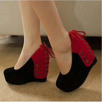 Wholesale Spring Color Wedge Heels - Wholesale-2015 spring color block decoration wedges platform ultra high heels shoes fashion women's lacing shoes