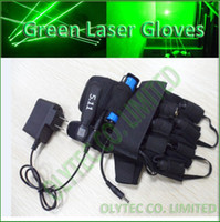 Wholesale Laser Green Module - Wholesale-532nm green laser gloves with 4 units 100mW green laser modules, Directly charge via Power adapter