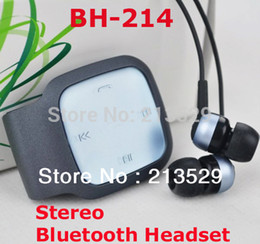 Wholesale Bluetooth Bh - Wholesale-BH214 Stereo Bluetooth Headset waist plug Headphone Earphon For iPhone 4 HTC Mobile Phone Audio player-BH-214 NO Package box