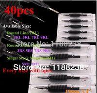 "Wholesale Sterilized Needles Rl - Wholesale-40PCS TATTOO NEEDLE Tube 3 4""(19mm) GRIP with Tip Sterilize Assorted 3 5 7 9 RL 3 5 7 9 RS 5 7 M1 Gun Machine FREE SHIPPING"