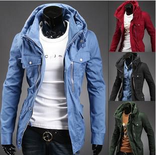 Al por mayor-envío gratuito a la mayoría de los países de alta calidad de moda azul rojo algodón ropa de hombre Assassins Creed Hoodie Coat Jacket